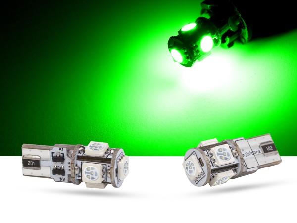 5er SMD LED Innenraumlicht, LEDW5W T10, CAN-bus, grün