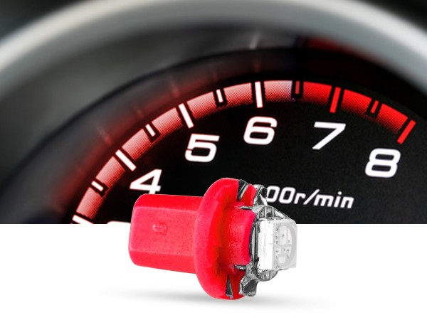 SMD 3-Chip Tacho Drehsockel LED, B8,5D PnP, 12 Volt, Rot