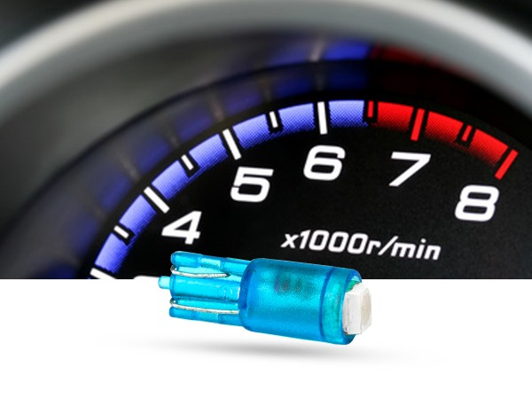 SMD 1-Chip Tacho Stecksockel LED, T5, 12 Volt, Blau