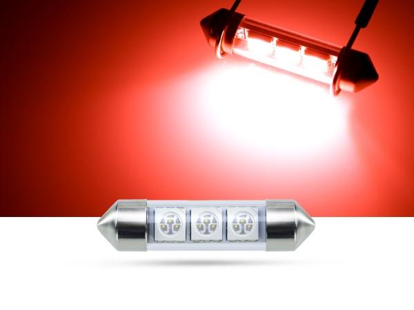 39mm 3x3-Chip SMD LED Soffitte Innenraumlicht, rot
