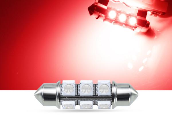 360° 42mm 3-Chip SMD LED Soffitte Innenraumlicht, rot