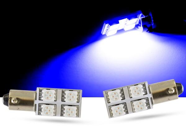 90° - 4er SMD LED, Innenraumlicht BA9s LEDT4W, blau