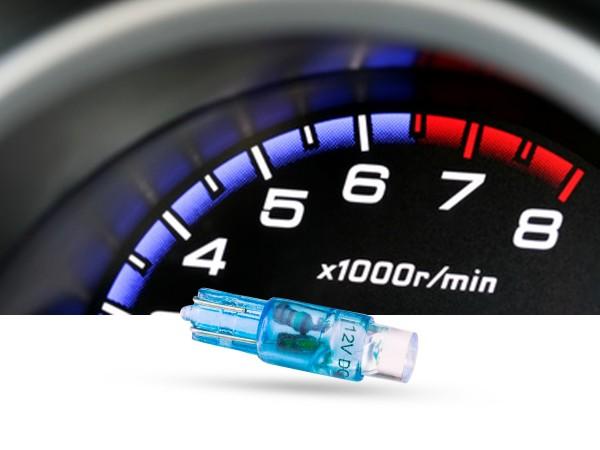 Tacho Stecksockel LED, T5, 12 Volt, Blau