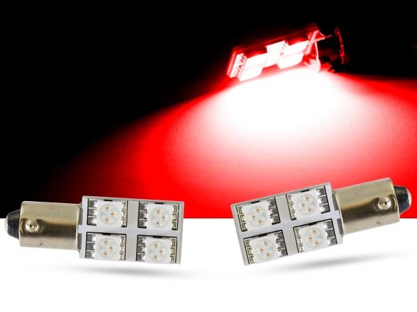 90° - 4er SMD LED, Innenraumlicht BA9s LEDT4W, rot