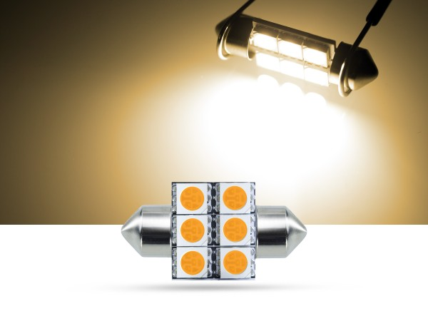 32mm 6x3-Chip SMD LED Soffitte Innenraumlicht, warmweiss