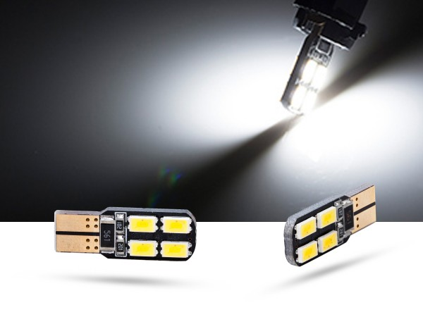 180° 8er SMD LED, CAN-bus, Glassockel w5w T10, weiss, offroad