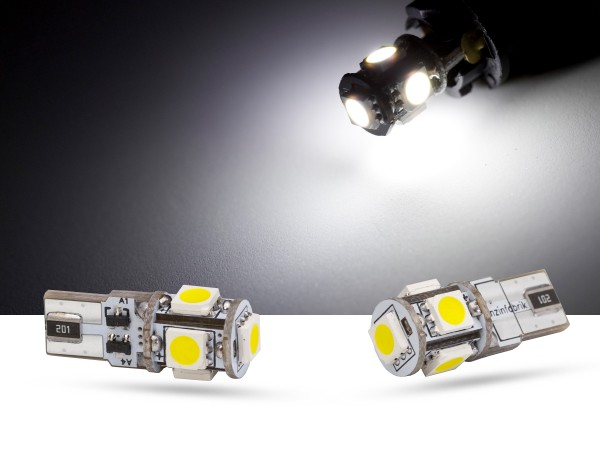 5er SMD LED, Glassockel T10 LEDW5W, CAN-bus, weiss, offroad