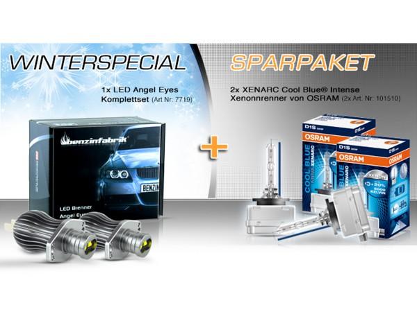 Winterspezial Sparpaket, LED Angel Eyes E90, E91 und 2x OSRAM XENARC®  CBI D1S