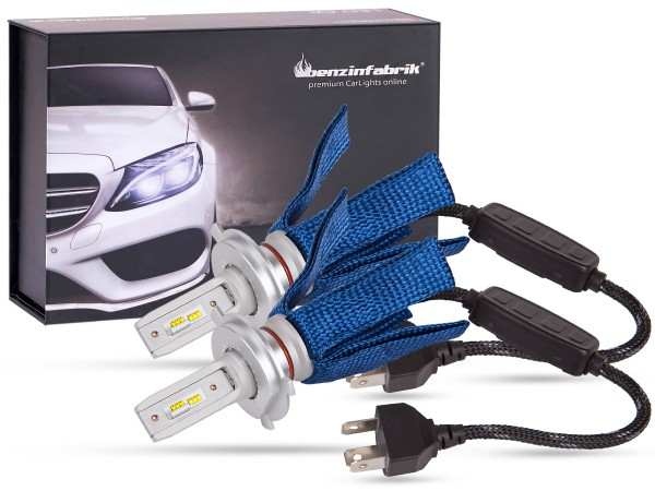 LED Abblendlichtset LEDH4 V2.1, weiss, BLUE striped Version