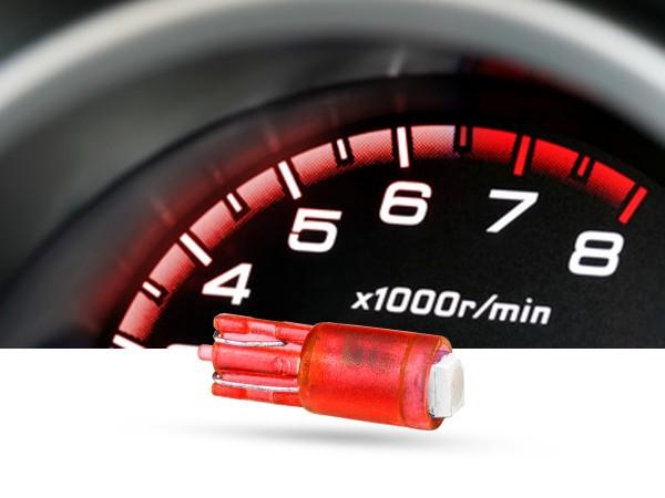 SMD 1-Chip Tacho Stecksockel LED, T5, 12 Volt, Rot