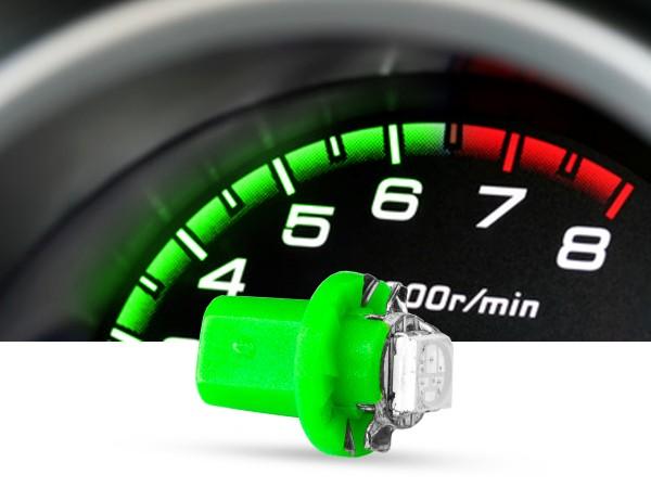 SMD 3-Chip Tacho Drehsockel LED, B8,5D PnP, 12 Volt, Grün