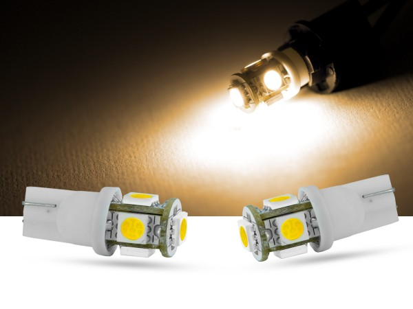 5er SMD LED, Glassockel T10 LEDW5W, warmweiss,