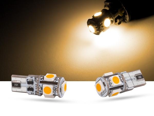 5er SMD LED, Glassockel T10 LEDW5W, CAN-bus, warmweiss,