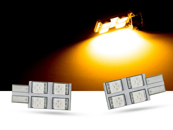 90° 4er SMD LED, Glassockel T10 LEDW5W, orange, offroad
