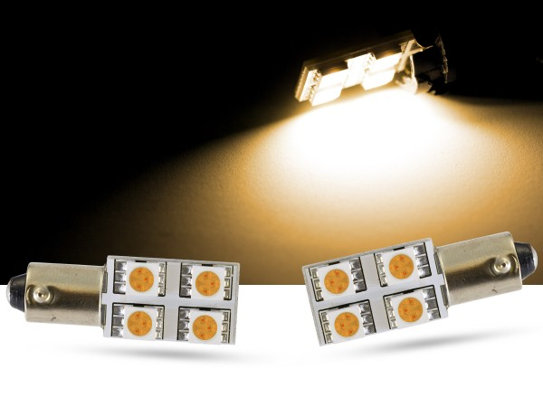 94736- 90° 4er SMD LED, Ba9s T4W, warmweiss