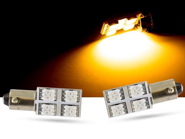 90° - 4er SMD LED, Innenraumlicht BA9s LEDT4W, gelb