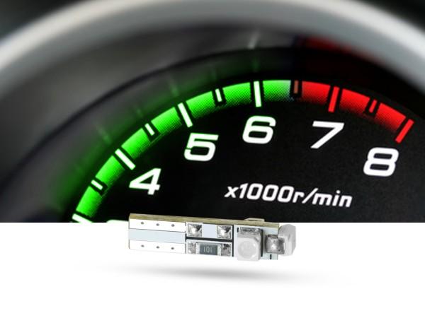 SMD 3x1-Chip Tacho Stecksockel LED, T5, 12 Volt, grün