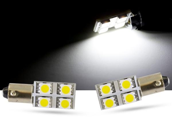 90° - 4er SMD LED, Innenraumlicht BAX9s LEDH6W, weiss