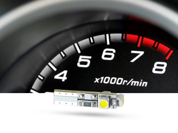 SMD 3x1-Chip Tacho Stecksockel LED, T5, 12 Volt, Weiß