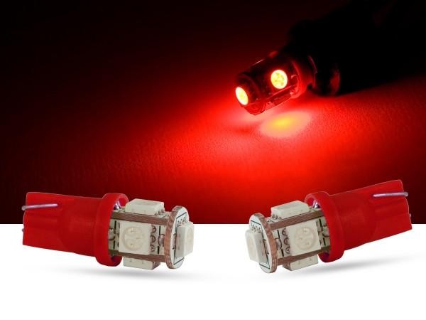 5er SMD LED Innenraumlicht, LEDW5W T10, rot