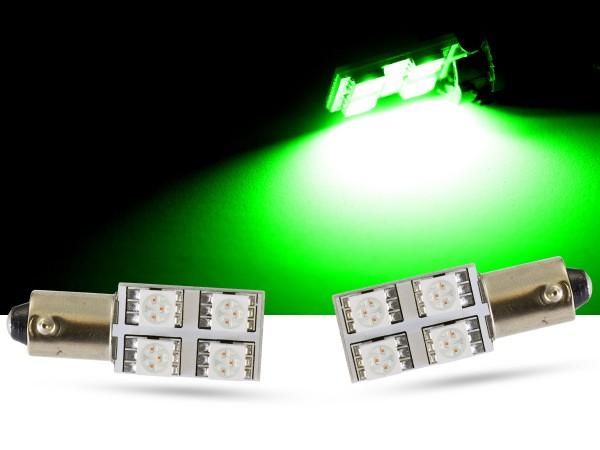 90° - 4er SMD LED, Innenraumlicht BA9s LEDT4W, grün