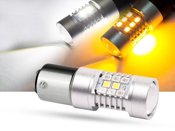 28er SMD LED, Bicolor, LEDP21/5W, Bay15d, weiss/orange