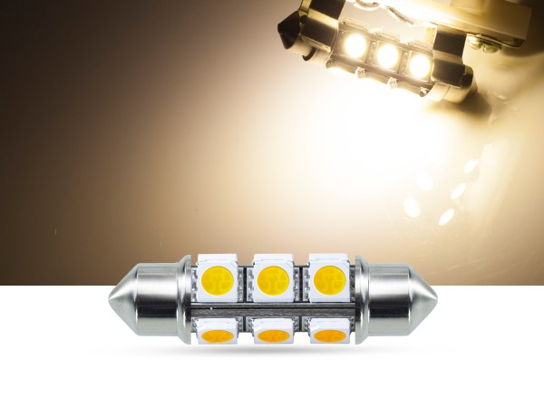 360° 42mm 3-Chip SMD LED Soffitte Innenraumlicht, warmweiss