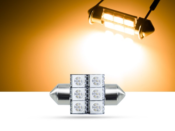 32mm 6x3-Chip SMD LED Soffitte Innenraumlicht, gelb