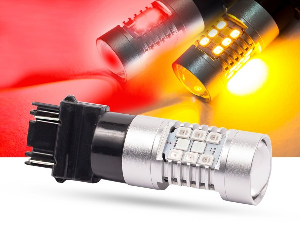 28er SMD LED, Bicolor, LEDP27/7W, 3157, rot/orange