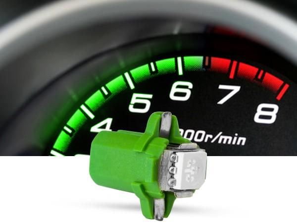 SMD 3-Chip Tacho Drehsockel LED, B8,3D PnP, 12 Volt, grün